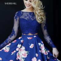 Sherri Hill 32323 Long Sleeve Lace Crop Top with Floral Skirt