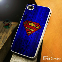 Superman Blue Wood iPhone 4 5 5c 6 Plus Case, Samsung Galaxy S3 S4 S5 Note 3 4 Case, iPod 4 5 Case, HtC One M7 M8 and Nexus Case