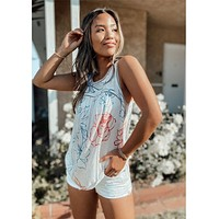 Dreamy Sketched Floral Tank Natural
