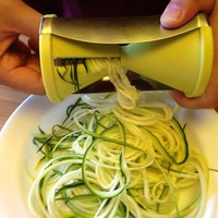 Brieftons Spiral Slicer: Stainless Steel Vegetable Spiralizer with Special Japanese Blades and 2 Julienne Sizes, Perfect Spiral Cutter for Low Carb Healthy Vegetable Meals - With Manual, Recipes and Cleaning Brush