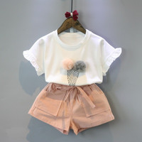 Short Sleeve O-Neck White Ice Cream Shirt+Shorts Set Girls Outfits 2 Piece Set