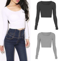 Long Sleeve Crop Top Round Neck - 3 Colors
