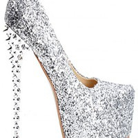 SILVER GLITTER ALMOND HIDDEN PLATFORM SPIKY HEEL PUMPS