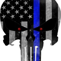 Thin Blue Line - Honor Your Police -Punisher Decal