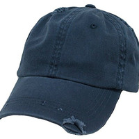 Navy Blue Vintage Distressed Polo Style Low-Profile Baseball Cap Hat