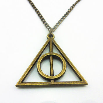 Jewelry gift metal Deathly Hallows triangle harry potter necklace men necklace women necklace boys necklace chain necklace XL-0004