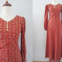 70s Floral Folky Maxi Dress, Petite XS-S // Vintage Slim Empire Hippie Day Dress