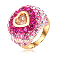 Romantic Christmas Gift Colorful SWA Element Austrian Crystal Love Ring 18K Gold Plated Heart Ring Women Jewelry Rings Ri-HQ0298