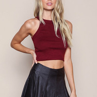 WINE PLUSH RIBBED KNIT CROP TOP