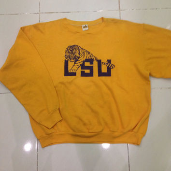 vintage 70s / 80s Louisiana State University / LSU tiger / long sleeve pullover sweatshirt / sweater / crewneck / knitwear russell athletic