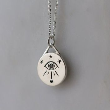 Third eye pendant in Sterling silver with black diamonds / black diamond pendant / all seeing eye / lovers eye pendant / celestial jewelry