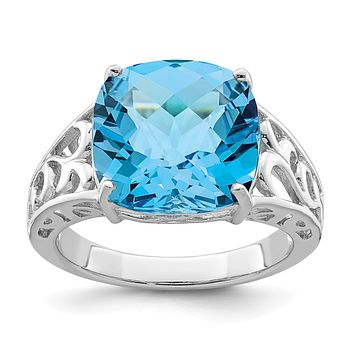 Sterling Silver Rhodium Checker-Cut Blue Topaz Gemstone Birthstone Ring Fine Jewelry Gift for Her