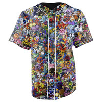 Pokemon Characters Collage Button Up Baseball Jersey