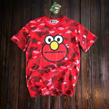 Bape Camouflage Pattern Logo Round neck Short sleeves T-shirt