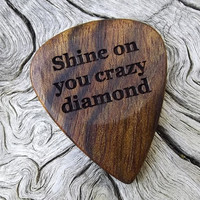 Handmade Premium Laser Engraved Wood Guitar Pick - Caribbean Rosewood - Actual Pick Shown - No Stock Photos - Pink Floyd Tribute