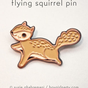 Flying Squirrel Enamel Pin - Squirrel Pin