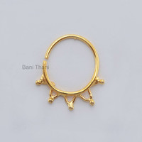 Handmade Gold Plated 925 Sterling Silver Nose Ring, Ethnic Septum Ring, Body Jewelry Nose Hoop, Gypsy - #6712
