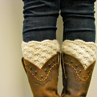 Boot Cuffs Lacy Crochet Boot Toppers in ivory  cream  by Caheez