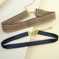 Set of 2 Denim and Stripes Choker Necklaces
