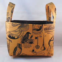 Orange And Black Retro Halloween Print Fabric Basket With Handles
