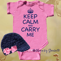 Funny Baby Girl Onesuit Keep Calm Onesuit Modern GIrl by MumsyGoose