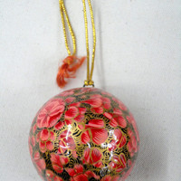 Pink christmas ornament ball/christmas tree decoration ornament/Handmade contemporary decor/Home Decor/Paper mache/Papier Mache/papiermâché