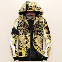 Boys & Men Versace Casual Cap Long Sleeve Zip Cardigan Jacket Coat