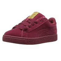 Puma Basket Classic Velour Tibetan Red Metallic Gold 366387 04 Preschool Shoes