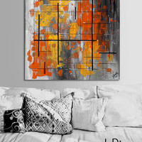 """Made to order. Original abstract painting. 24x24"""" canvas art. Geometric with yellow, orange, gray. Yellow painting. Modern wall art. Square"""