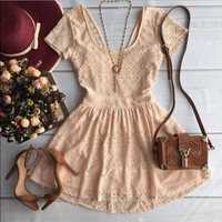 Solid Color Stitching Lace Backless Dress