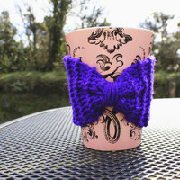 Knitted Bow Shaped Coffee Cozy in Purple, Anime Style Mug Cozy