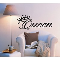 Vinyl Wall Decal Stickers Bedroom Decor Words Queen Inspiring Letters Crown 2033ig (22.5 in x 9 in)