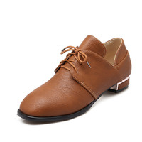 Women Pumps Lace Up Low Heeled Shoes Woman 3538