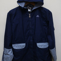 Vintage ADIDAS Hooded Zipper Jacket Windbreaker Dark Blue Color Size L