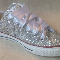 Diamante Crystal Covered Converse Wedding Prom Shoes Trainers Custom Made