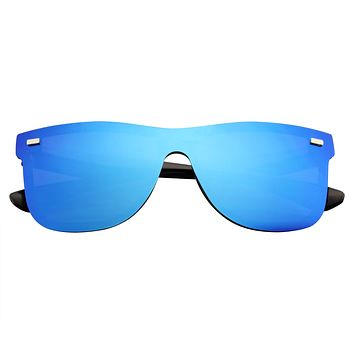 Modern Retro Horned Rim Flat Mirrored Lens Sunglasses