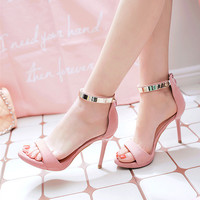 Summer Fashion Casual Metal Buckle Band Zip Sandals Roman Women Heels Shoes