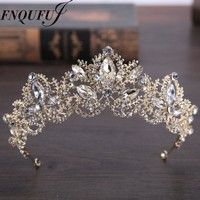 wedding crown headband Tiaras for Women flower bride crystal tiaras crowns king Wedding Hair Accessories Fashion jewelry
