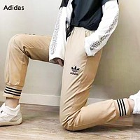 Adidas Fashion New Embroidery Letter Leaf Women Men Sports Leisure Pants Khaki