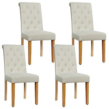 Fabric Upholstered Tufted Dining Chair with Wooden Legs