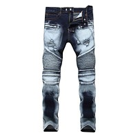 High Street Men Cotton Patchwork Slim Fit Ripped Jeans