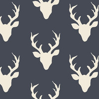 Deer Crib Sheet- Navy and White Stag Head -Woodland Nursery -Buck Baby Bedding - Toddler Bedding -