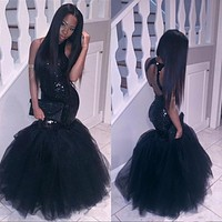 Sparkly Black Girls Mermaid African Prom Dresses Long 2017 Halter Neck Sequins Tulle Sexy Formal Dress Cheap Party Pageant Gown