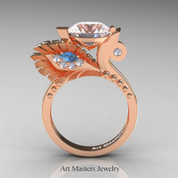 High Fashion Nature Inspired 14K Rose Gold 3.0 Ct White Sapphire Blue Topaz Diamond Marquise Eye Engagement Ring R359S-14KRGDBTWS