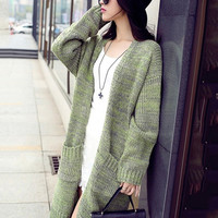 Long Sleeve Patch Pockets Wool Midi Knit Cardigan