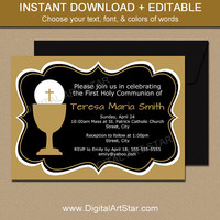 First Communion Invitations in Black & Gold - First Holy Communion Invitation Template - EDITABLE 1st Communion Invites - Instant Download
