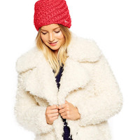 Red Cable Knit Bobble Beanie