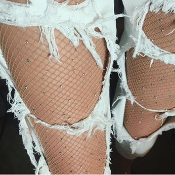 Women Ladies Fashion Black Big Mesh Fishnet Net Pattern Pantyhose Stockings Sock