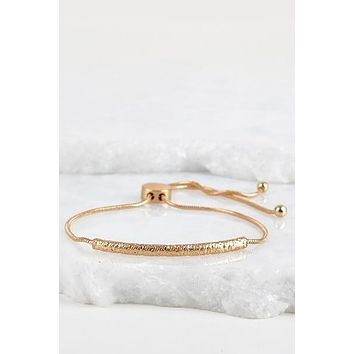 Curved Textured Metal Bar Bracelet with Adjustable Pull Tie