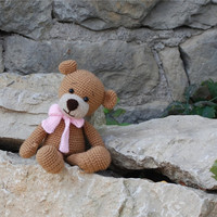 crochet brown teddy bear with pink bow, amigurumi bear, crochet doll for children, sitting bear, stuffed soft toy, natural rustic old
